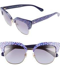 women's kate spade new york karri 53mm sunglasses - pattern blue/ blue