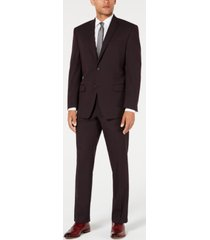marc new york by andrew marc men's modern-fit stretch burgundy textured suit