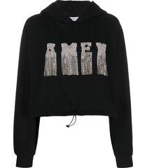 amen long sleeve embroidered logo hoodie - black