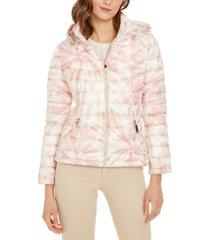 calvin klein tie-dye hooded packable puffer jacket