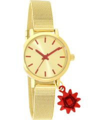 holiday lane women's bow charm gold-tone mesh bracelet watch 30mm, created for macy's