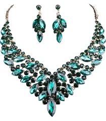 conjunto brinco e colar liage pedraria metal pedras cristais verde esmeralda escuro dourado