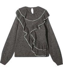 alberta ferretti gray teen sweater
