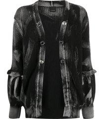 pinko ruffled cuff dyed effect cardigan - black