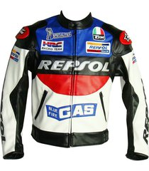 honda repsol gas jacket racing motorcycle leather red black new style xs-6xl new