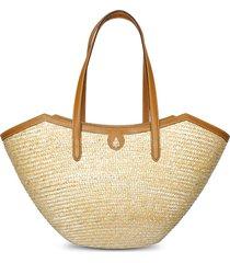 madeline large straw and leather basket bag