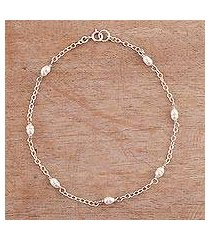 cultured pearl anklet, 'leisurely walk' (peru)