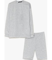 womens cut it short sweatshirt and biker short set - grey marl