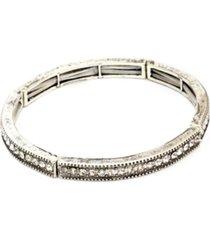 pulseira lovelee acessã³rios boho fina strass prata velha - cinza - feminino - dafiti