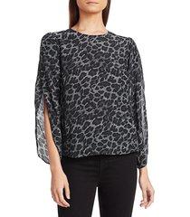 generation love women's idina tulip-sleeve silk leopard top - charcoal - size xs