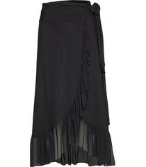 dot mesh knälång kjol svart ganni