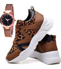tênis sapatênis plataforma fashion com relógio gold dubuy 738el marrom