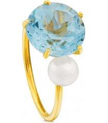 anillo ivette de oro con topacio y perla azul tous