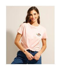 camiseta cropped de algodão as meninas superpoderosas com nó manga curta decote redondo rosa claro