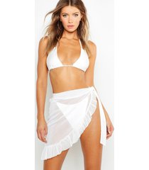 ruffle tie beach sarong, white