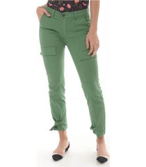 pantalon para mujer en dril verde color-verde-talla-4