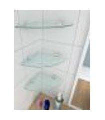 kit com 3 prateleiras para canto de vidro temperado para banheiro profundidade 20 cm