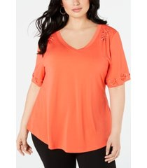 belldini plus size cold-shoulder lace-up top