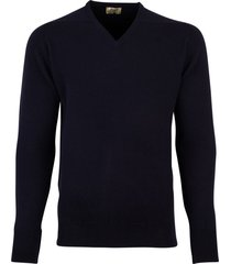william lockie pullover donkerblauw v-hals lamswol