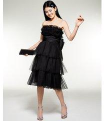 betsey johnson tiered strapless midi dress