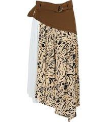 nuce blocked floral midi skirt