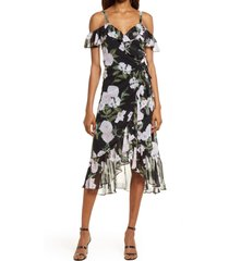 women's chelsea28 flounce wrap midi dress, size small - black