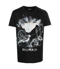 balmain camiseta decote careca com estampa de lobo - preto