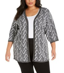belldini plus size elbow-sleeve cardigan