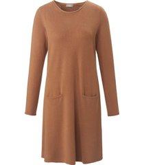gebreide jurk van 100% kasjmier met lange mouwen van include bruin