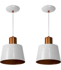 kit 2 lustres pendentes florenã§a de alumãnio branco c/ cobre - branco - dafiti