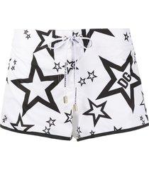dolce & gabbana star print beach shorts - white