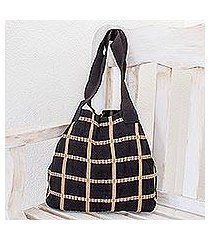 cotton shoulder bag, 'ebony chic' (guatemala)