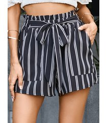 yoins black striped cinturón diseño shorts con bolsillos laterales