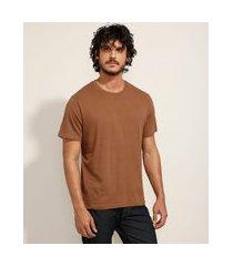 camiseta masculina básica manga curta gola careca marrom