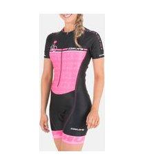macaquinho ciclismo feminino hupi love bike preto rosa