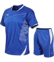 hombres summer sporty letter color block running aptitud traje deportivo