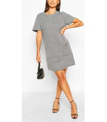 dog tooth short sleeve shift dress, black