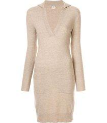 hermès 1997-2003 pre-owned v-neck cashmere jumper dress - brown
