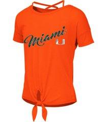 colosseum big girls miami hurricanes tie front ballerina t-shirt