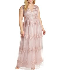 plus size women's chi chi london aubree embroidered mess evening dress