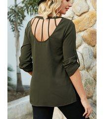 yoins verde militar sin espalda diseño redondo cuello blusa de manga larga
