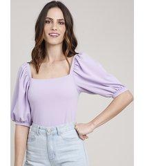 blusa feminina mindset manga bufante decote reto lilás