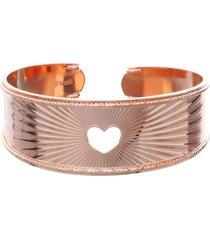 bracciale bangle cuore in bronzo rosato per donna
