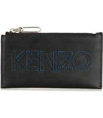 kenzo embroidered logo zipped wallet - black