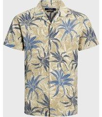 camisa jack & jones jprdale resort shirt s/s pre beige - calce regular