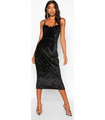 tall cup detail velvet midi dress, black