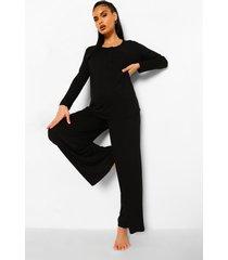 zwangerschap borstvoeding pyjama set met knopen, black