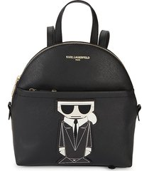 karl lagerfeld paris women's maybelle logo faux leather backpack - black