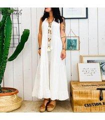 zanzea verano de las mujeres de cuerpo entero vestido de tirantes sin mangas de las borlas del maxi largo de dess -blanco