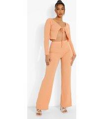 geribbelde cardigan met strik en wide leg broek, orange